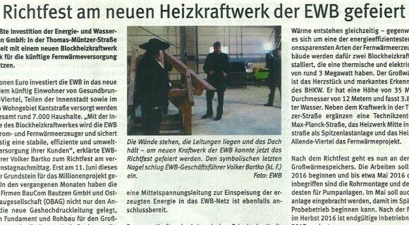 05.12.2015: Richtfest am neuen Heizkraftwerk der EWB gefeiert