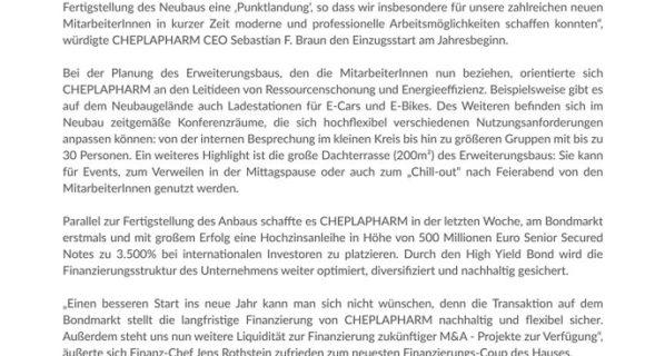 Cheplapharm bezieht Neubau
